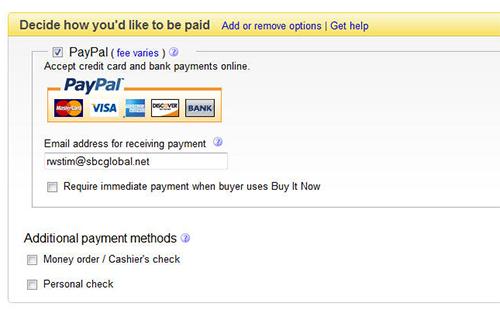 Create a listing paymnent method